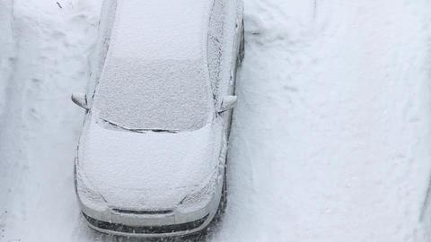 Car under snow winter Footage