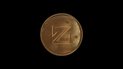 A coiling loop ZCoin crypto with an alpha channel Animation