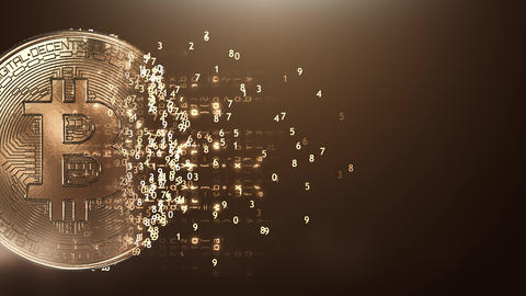 Loop digital golden bitcoin background Animation