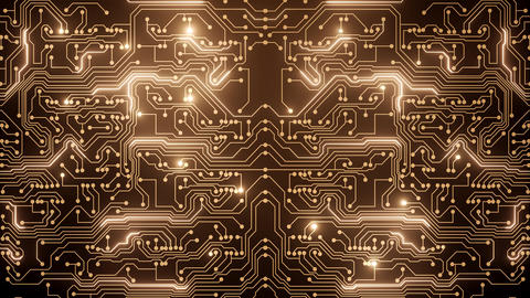 Abstract loop animation of gold circuit Stock Video Footage