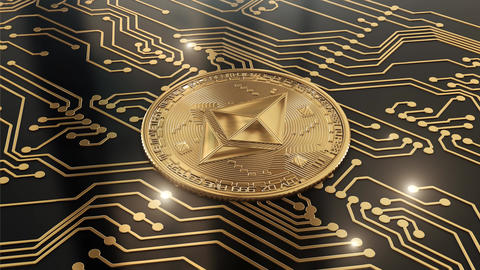 Loop Gold crypto currency Ethereum world in circuits Animation