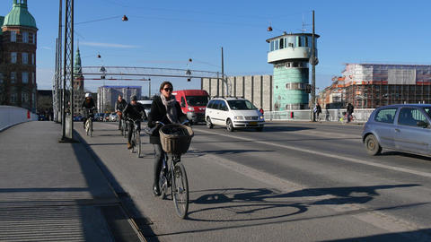 Traffic on Knippels Bridge in Copenhagen - cars and bicyclists crossing Footage