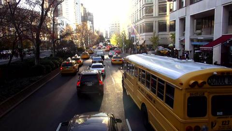 School Bus driving through Manhattan – MANHATTAN, NEW YORK/USA NOVEMBER 20, 20 Live Action