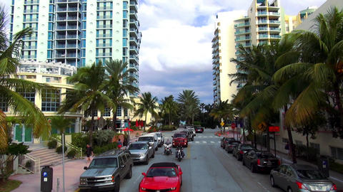 Colorful skyscrapers and appartments in Miami Beach – MIAMI, FLORIDA/USA OCTOB Live Action