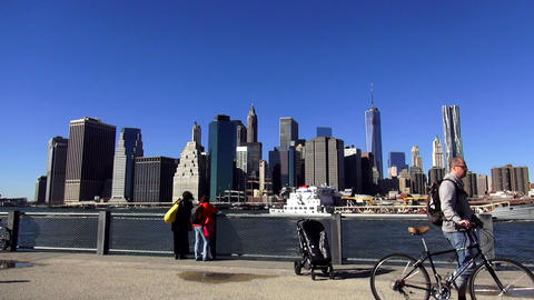 Manhattan Skyline with new World Trade Center on a sunny day – MANHATTAN, NEW  Live Action