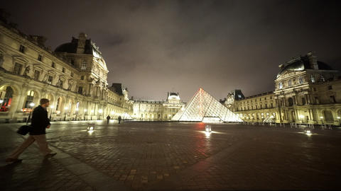 Wide angle shot of the Louvre museum by night - editorial use only Footage