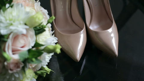 Bride Shoes And Bouquet Footage