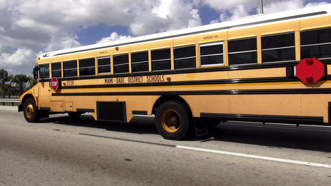 School Bus Miami Dade District Schools – MIAMI, FLORIDA/USA OCTOBER 19, 2015 Live Action