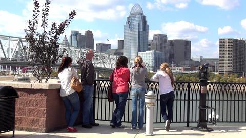 Family Looking At Cincinnati Skyline No Model Release - CINCINNATI, OHIO/USA OCT stock footage