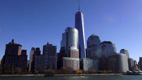 Manhattan Financial District With New World Trade Center – MANHATTAN, NEW YORK stock footage