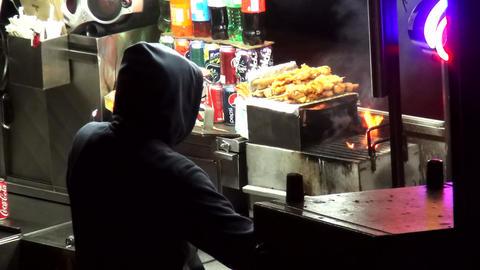 Shish Kebab and hot dog Street Sale Manhattan – MANHATTAN, NEW YORK/USA NOVEMB Live Action