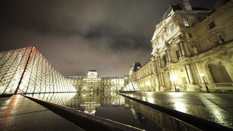 Wide angle shot of the Louvre pyramids - editorial use only Footage