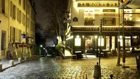 Authentic street view in Paris Montmartre Live Action