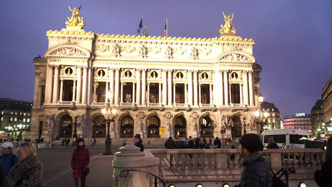 Wonderful evening shot of Paris Opera Garnier Footage