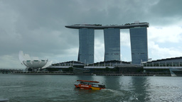 Dark clouds above Marina Bay Sands Footage