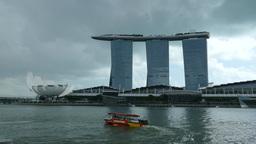 Dark clouds above Marina Bay Sands Footage