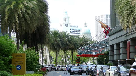 Fullerton hotel building with the Victoria Theatre & Concert Hall tower Live Action