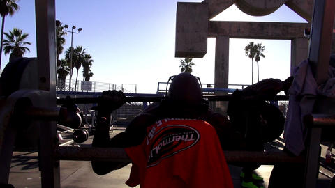 Muscle Beach At Venice Beach – LOS ANGELES, CALIFORNIA NOVEMBER 8,2012 stock footage