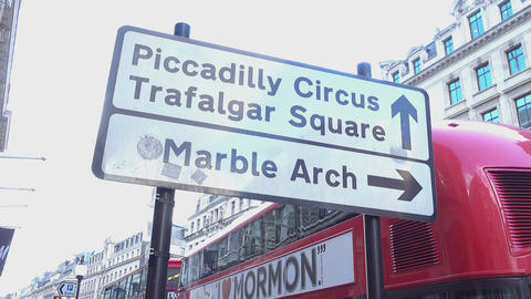 Direction sign to Piccadilly Circus LONDON,ENGLAND FEBRUARY 20, 2016 Live Action