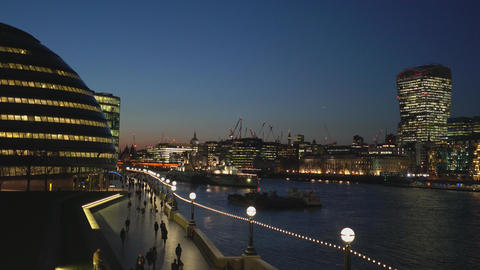 More London Riverside skyline with London city hall - LONDON,ENGLAND FEBRUARY 20 Live Action