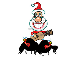 Santa riding Turkeys playing a guitar Animation