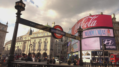 Piccadilly Circus on a sunny day - LONDON,ENGLAND FEBRUARY 20, 2016 Live Action