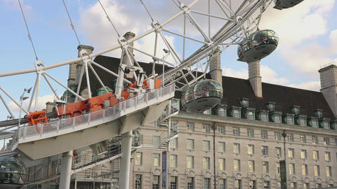 The capsules of London Eye LONDON,ENGLAND FEBRUARY 20, 2016 Footage