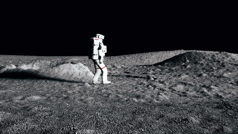 Astronaut walking on the moon. CG Animation GIF