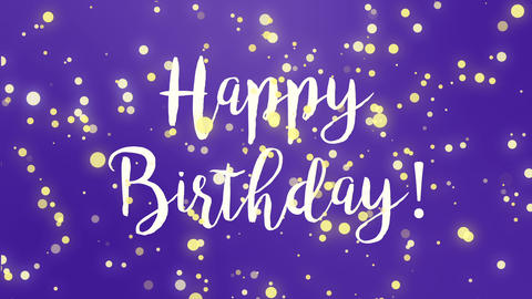 Purple Happy Birthday greeting card video CG動画素材