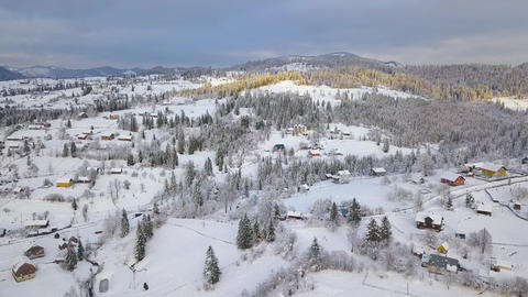 Flight over snowy mountain village and coniferous forest. Clear sunny frosty Footage