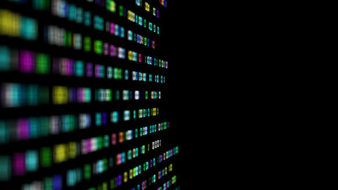 multi-colored numbers transmit a binary code code to the center of the screen Footage