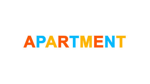 text APARTMENT from letters of different colors appears behind small squares Animation