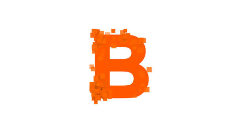 latin letter B from letters of different colors appears behind small squares Animation