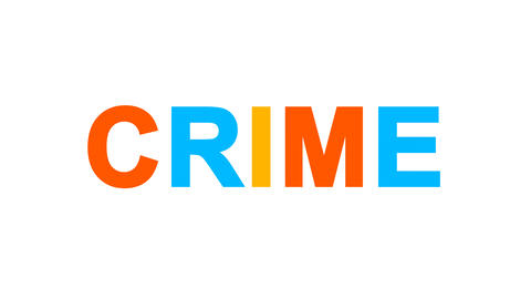 text CRIME from letters of different colors appears behind small squares. Then Animation