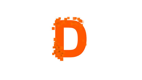 latin letter D from letters of different colors appears behind small squares Animation