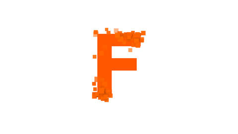 latin letter F from letters of different colors appears behind small squares Animation
