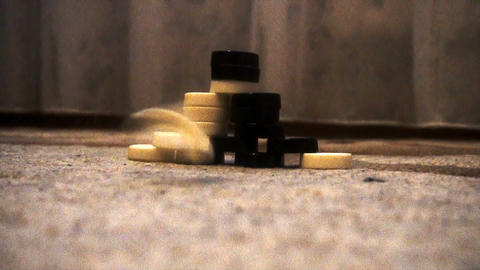 throw checkers into a pyramid of checkers, a game called Chapaev Footage