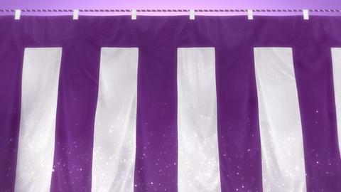 はためく紫白幕(ループ可能) - パン CG動画