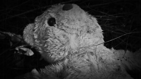 Teddy Bear In Horror Scene Near Abandoned Factory. Old Vintage Film Look Live Action
