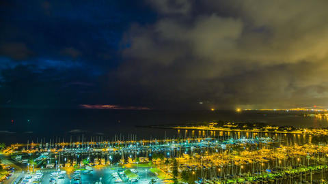 Time Lapse - Clouds Moving Over in Waikiki Beach Harbor at Night 영상물