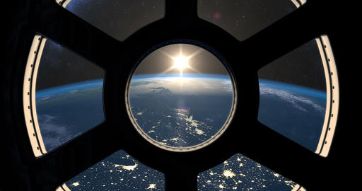 Earth sunrise seen from ISS Animation
