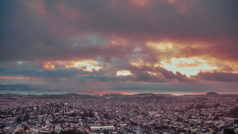 Time Lapse - Aerial View of Cloudscape at Twin Peaks, San Francisco Footage