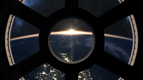 Slow sunrise seen from ISS Animation