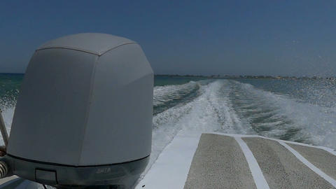 A powerboat engine moves the powerboat in the Black Sea Live Action