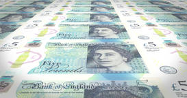 Five pounds sterling of england bank banknotes rolling on screen, money, loop Animation