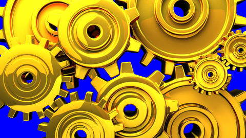 Gold Gears On Blue Chroma Key 애니메이션