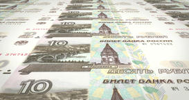 Banknotes of ten rubles russians rolling on screen, cash money, loop Animation