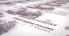 Banknotes of five hundred rubles russians rolling on screen, cash money, loop Animation