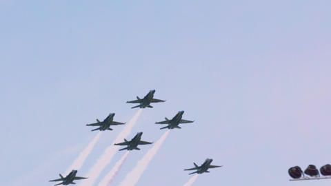 Blue angels breaking out of fleur de lis formation slow motion Footage