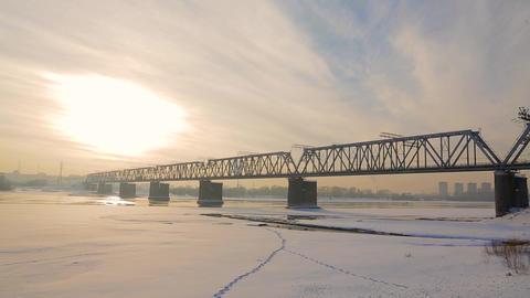 Railway bridge over the river 2 Footage